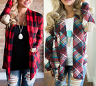 Women Long Sleeve Lapel Casual Plaid Checked Tops Button Down Shirt Blouse