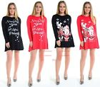 Womens Ladies Plus Size Cheeky Santa Rudlop Flared Skater Swing Xmas Dress  8/22