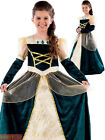 Girls Royal Ball Gown Costume Childs Queen Medieval Fancy Dress History Outfit