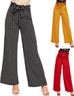 Womens Striped Belted Pants Paperbag Wide Flared Leg Ladies Crepe Trousers 6-14