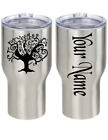 Whimsical Tree Personalized Name Vinyl Decal Sticker 2 Pieces Cup Tumbler Choice