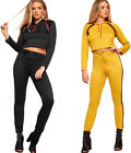 Womens Contrast Striped Long Sleeve Crop Top Leggings Ladies Hooded Co-Ord Set