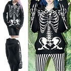 PlusSize Women Fashion Skull Print Gothic Punk Long Sleeve Hoodie Tops OutwearBH
