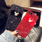 Luxury Glitter Bling Diamonds Mickey Plush Ball Case Cover for iPhone X 8 7 Plus