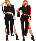 Womens Contrast Striped Long Popper Panel Sleeve Crop Top Ladies Co-Ord Set