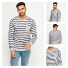 Mens New Bling Round Neck Striped 100% Cotton with front Pocket Jumper Sweater