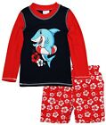 Внешний вид - Sweet & Soft Toddler Boys Shark Long Sleeve Rash Guard Hibiscus Swim Trunk Set
