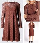 New Ex M&S Ladies Rust Lace Long Sleeve Midi Party Dress Size 8 - 22