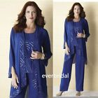 Blue Beads Mother of Bride Pants Suit Long Jacket Plus Size Formal Outfits Dress