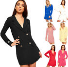 Womens Double Breasted Long Sleeve Short Button Collar Ladies Mini Blazer Dress