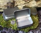 SMALL SILVER 50 ml HINGED METAL STORAGE Tin for Camping Survival Bushcraft