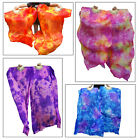 1pair hemmed sturdy tie dye color 15m09m 59x35 belly dance silk fan veil