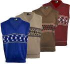 Mens Argyle V Neck Sleeveless Sweater Jumper Tank Top Jersey Golf Casual M-XL
