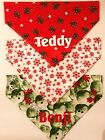 Personalised Christmas Dog Bandana, over collar type in 3 designs