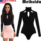 ladies jumpsuits - USA Women Ladies Bodysuit Stretch Leotard Long Sleeve Body Tops T shirt Jumpsuit