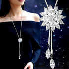 Women Rhinestone Snowflake Pendant Long Chain Sweater Necklace Jewelry Solid