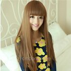Fashion Full Wigs Long Straight Hair Wig Soft Fringe Cosplay Costume UK Sell