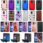 LG K20 Plus / K20 Hybrid Hard Armor Glitter Bling Wallet Clear Slim Case Cover