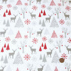 Silver stags & snowy Christmas 100% Cotton Fabric per Half Metre or Fat Quarter