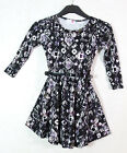New Girls Skater Dress Belted Long Sleeves Black White Print Pattern Ages 7-13Y