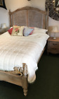 Belle French Weathered Bed with rattan made from Teak 4'6 5' or 6' New BT030