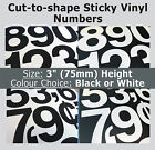 "30 x Sticky Numbers 3"" , Self-Adhesive Labels , Plastic Vinyl Numbering Stickers"