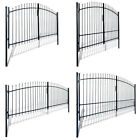 #Double Swing Garden Gate Entry Door Fence with Spear Top Black Steel 8 Sizes