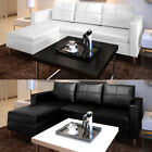 Artificial Leather Sectional Sofa Configurable Chaise Lounge Couch White/Black✓