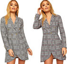 Womens Multi Checked Print Long Sleeve Gold Button Open Ladies Mini Blazer Dress