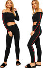 Womens Contrast Striped Long Sleeve Off Shoulder Crop Top Leggings Ladies Set