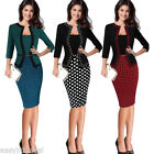 US SALE Womens Office Lady Formal Business Work Party Sheath Tunic Pencil Dress