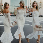 strapless mermaid gown - New White Lace Mermaid Strapless Long Sleeve Wedding Dress Bridal Gown