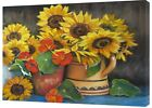 LARGE SUNFLOWERS DRAWN CHARCOAL SOFT PASTEL PRINT ON FRAMED CANVAS