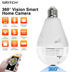 Bulb Lamp Wireless IP Camera Wifi 960P 360° Panoramic Fisheye Home Security/Card