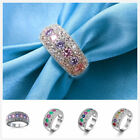 HOT Multicolor CZ Diamonique Real Gold Plated Wedding Promise Finger Ring Sz6-10