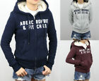 New Abercrombie A&F by Hollister Women Sherpa Hoodie Fur Sweatshirt Jacket Coat