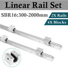 2Pcs SBR16 300-2000mm LINEAR SLIDE GUIDE SHAFT RAIL+4Pcs SBR16UU Block US Stock