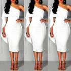 Women Bandage Bodycon One Shoulder Sleeveless Party Evening Cocktail Mini Dress