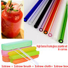 8mm Thick Clear Glass Drinking Straws for Wedding Birthday Party & Brush & box