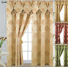 "Self-indulgence Jacquard Curtain Panel with Attached Waterfall Valance 54"" X 84"" Angelina"