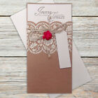 Brown Vintage Lace Wedding Invitations Laser Cut Twine & Rose Day/Eve Free P*P