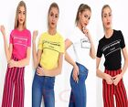 Womens Ladies Short Sleeves Avenue Montaigne Print Crew Neck T Shirt Top 8-14