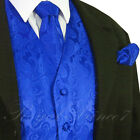 Royal Blue Men Paisley Tuxedo Suit Dress Vest Waistcoat & Ne