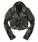 Fashion Jackets Silver Studded Leather Real Soft Leather Slim Fit Custom Made