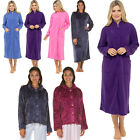 Womens Dressing Gown Ladies Bed Jacket Fleece Embossed Zip Nightwear Plus Size