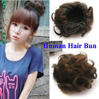 26g 4colors Virgin Human Hair short Woven Curly Buns Clip In Hair Extension