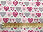 100% Cotton Fabric - Pink & Lilac Love Hearts - Craft Nursery Material Metre