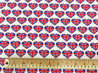 100% Cotton Fabric - Union Jack British Flag Love Hearts Print - Material Metre
