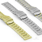 20/22/24mm Stainless Steel Safety Clasp Watch Strap Band Bracelet Mirror Slits