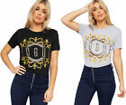 Womens Vogues Slogan Gold Glitter Print Graphic T-Shirt Ladies Short Sleeve Top